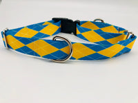 Dog Collar Flat or Martingale Deluxe & Optional Bringsel Argyle Blue/Yellow