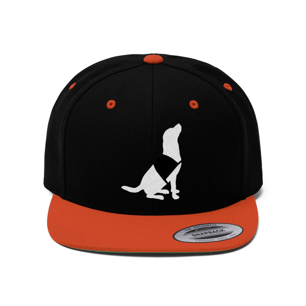 Flat Bill Hat Black Orange Sitting Service Dog