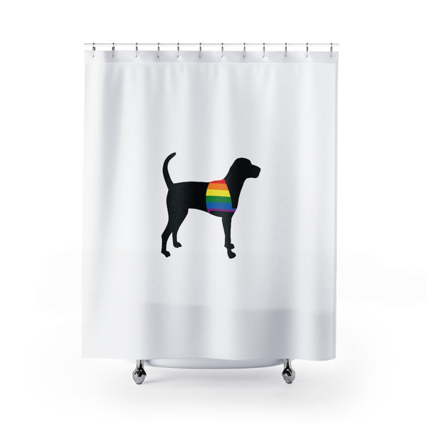 Dog Shower Curtain Standing Service Dog Vest Rainbow Pride LGBTQI