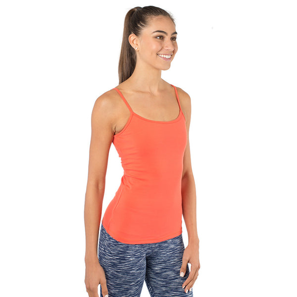 womens workout tank top with built-in bra orange