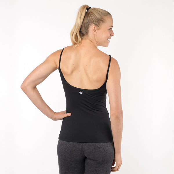 workout tank top with built in shelf bra