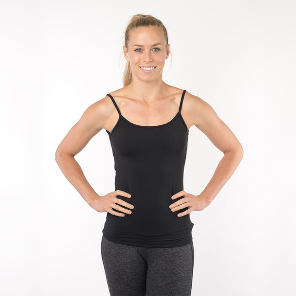 black workout tank with a built-in bra