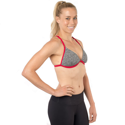 Revelation Bra Heathered Black & White w/ Red