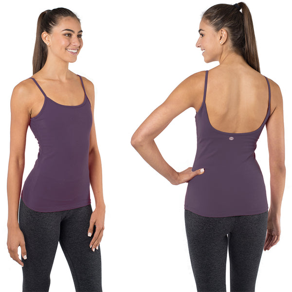 803b9fa2bd5bf ... Yoga Top with a Built in Bra - Ballet Bombshell Tank - Purple ...