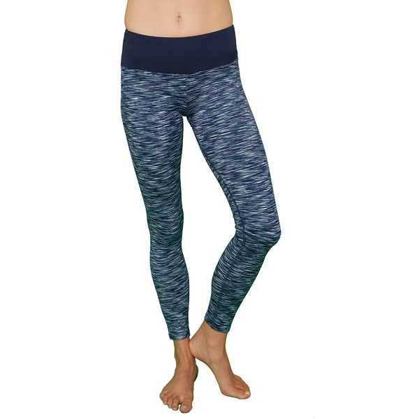 Yoga Leggings - Heather Navy and White