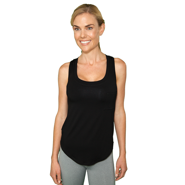 Racerback Flowy Workout Tank Top - Black