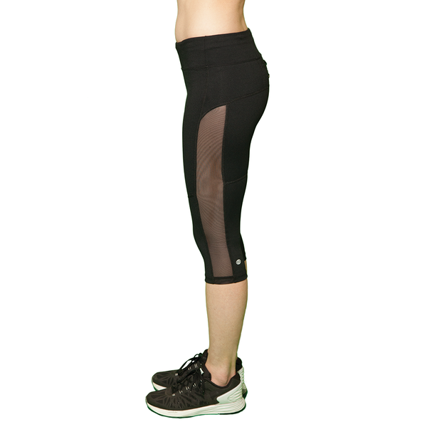 black compression pants with mesh, black