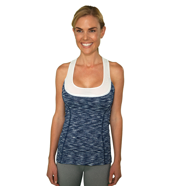 Match Point Tank - Heathered Navy & White - FABB Activewear