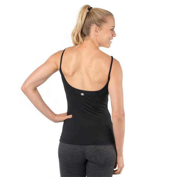 workout tank with built in bra womens black
