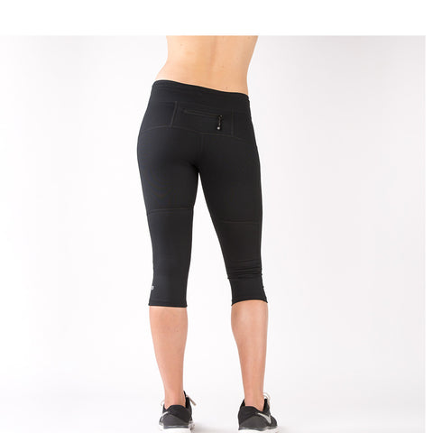 Running Capri Leggings with Mesh - Black