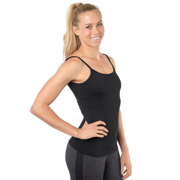 yoga tank with an open back and built in bra