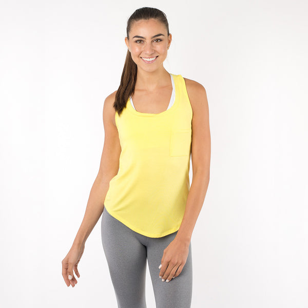 Yellow Racerback Tank Top, Flowy and Slim Fit