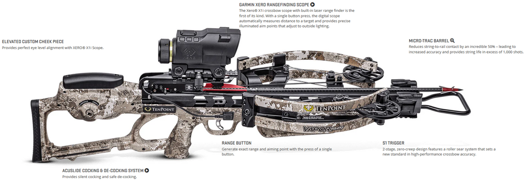 TenPoint Vapor RS470 Xero Crossbow w/Garmin Rangefinding Scope Elite Package Veil Alpine