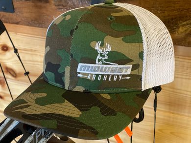 Midwest Archery Camo Hat Side Logo White Mesh
