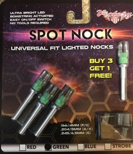 Spot Nock Lighted Green 4pk Victory Archery