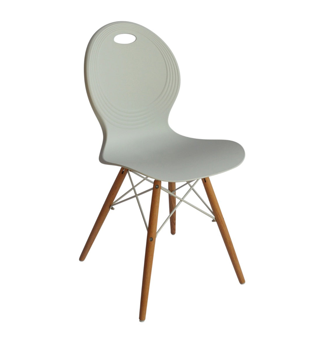 Set of 2 Eames Look Trenz dining chair white with solid natural oak legs