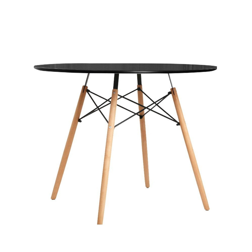 4-Seater Round Replica Eames DSW Dining Table Kitchen Timber Black 90cm
