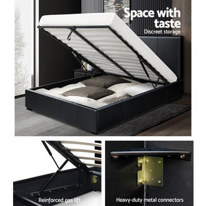 Double Size PU Leather and Wood Bed Frame Headborad - Black