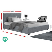 Load image into Gallery viewer, King Single Size Gas Lift Bed Frame Base With Storage Mattress Grey Fabric NINO