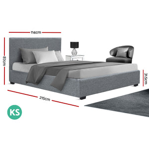 King Single Size Gas Lift Bed Frame Base With Storage Mattress Grey Fabric NINO