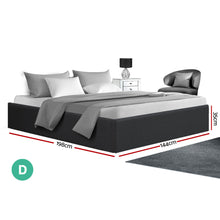 Load image into Gallery viewer, TOKI Double Size Storage Gas Lift Bed Frame without Headboard Fabric Charcoal