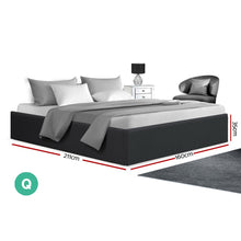 Load image into Gallery viewer, TOKI Queen Size Storage Gas Lift Bed Frame without Headboard Fabric Charcoal