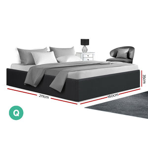 TOKI Queen Size Storage Gas Lift Bed Frame without Headboard Fabric Charcoal