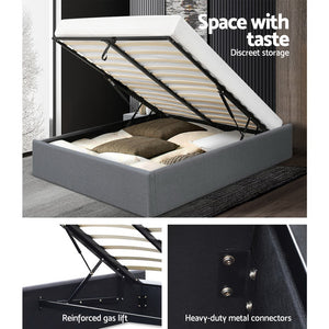 Queen Size Gas Lift Bed Frame Base With Storage Platform Fabric
