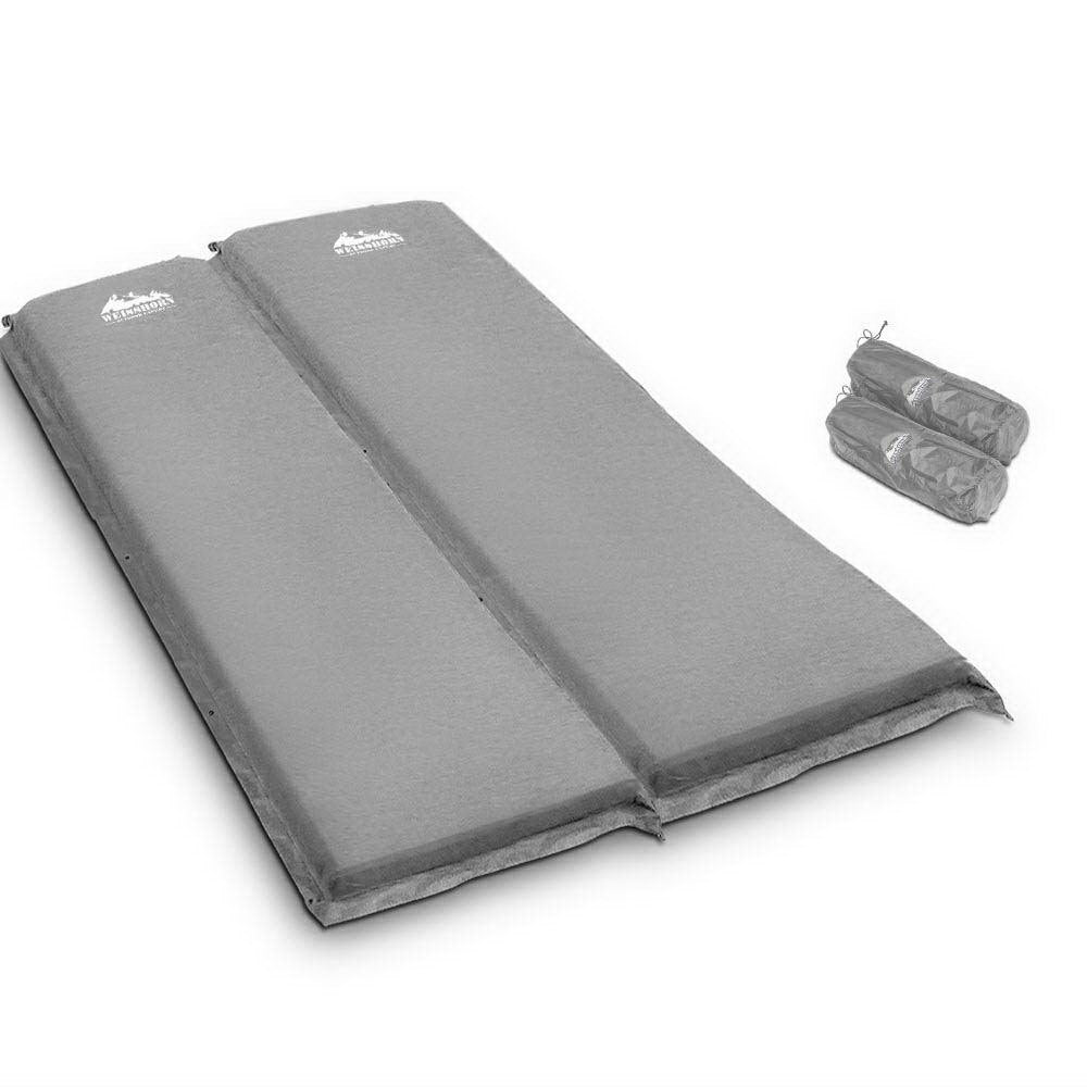 Weisshorn Self Inflating Mattress Camping Sleeping Mat Air Bed Pad Double Grey 10CM Thick