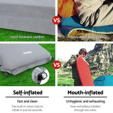 Load image into Gallery viewer, Weisshorn Self Inflating Mattress Camping Sleeping Mat Air Bed Pad Double Grey 10CM Thick
