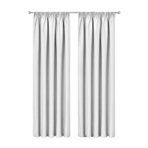 2X Pinch Pleat Pleated Blockout Curtains White 240cmx230cm