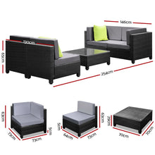 Load image into Gallery viewer, 5PC Outdoor Furniture Sofa Set Lounge Setting Wicker Couches Garden Patio Pool