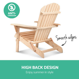 Outdoor Chairs Furniture Beach Chair Lounge Wooden Adirondack Garden Patio