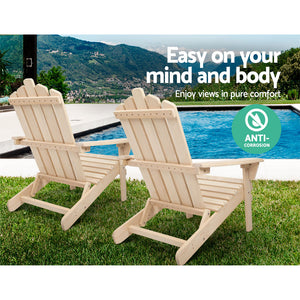 Patio Furniture Outdoor Chairs Beach Chair Wooden Adirondack Garden Lounge Recliner 2PC Beige