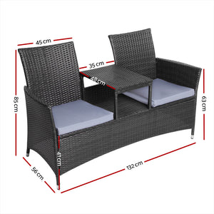 2 Seater Outdoor Wicker Bench - Black