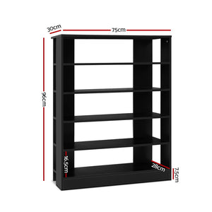 Shoe Cabinet Shoes Organiser Storage Rack 30 Pairs Black Shelf Wooden