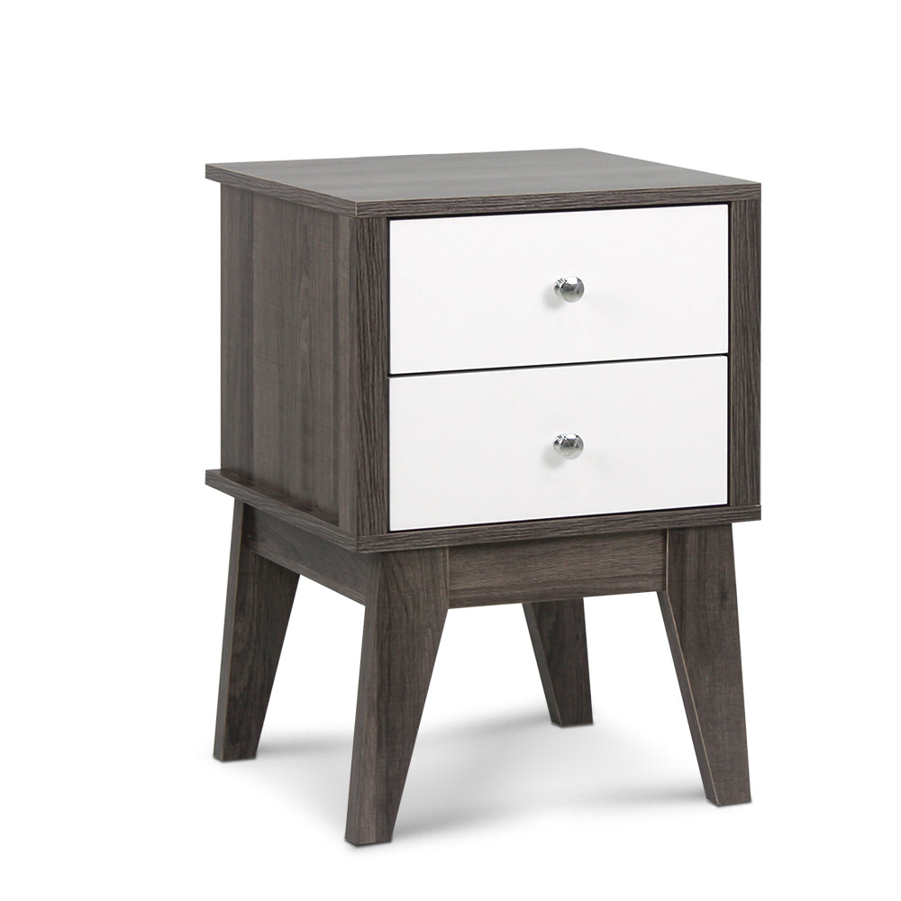 Bedside Table with Drawers - White & Dark Grey
