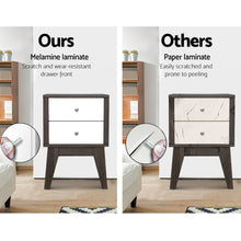 Load image into Gallery viewer, Bedside Table with Drawers - White & Dark Grey