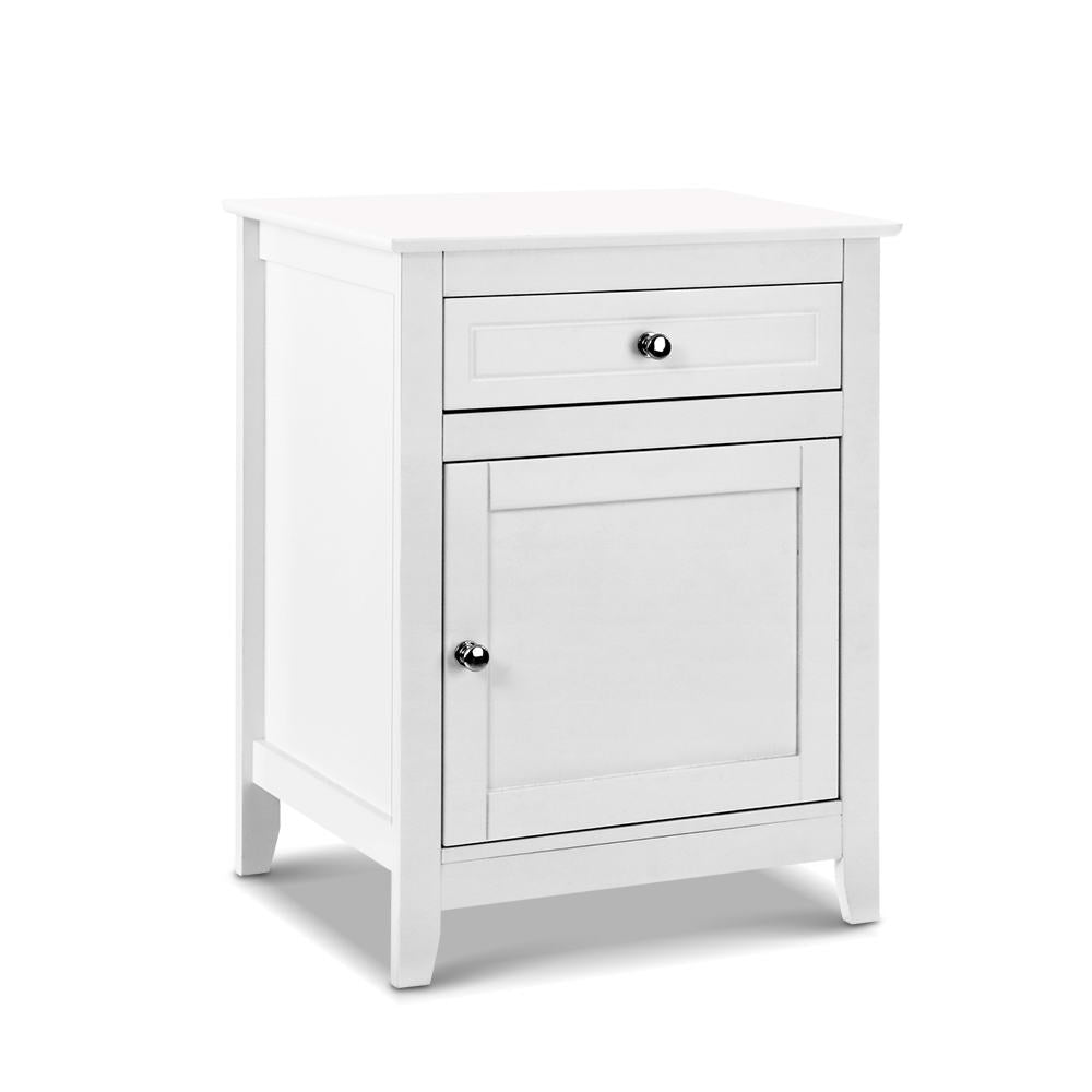 Bedside Tables Big Storage Drawers Cabinet Nightstand Lamp Chest White