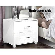 Load image into Gallery viewer, High Gloss Two Drawers Bedside Table - White