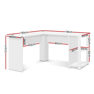 Office Computer Desk Corner Student Study Table Workstation L-Shape Shelf White