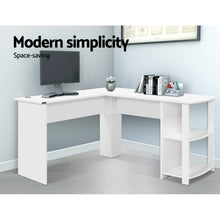 Load image into Gallery viewer, Office Computer Desk Corner Student Study Table Workstation L-Shape Shelf White