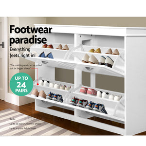 Shoe Cabinet Shoes Storage Rack Organiser White Shelf Drawer Cupboard 24 Pairs