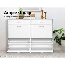 Load image into Gallery viewer, 36 Pairs Shoe Cabinet Rack Organisers Storage Shelf Drawer Cupboard White