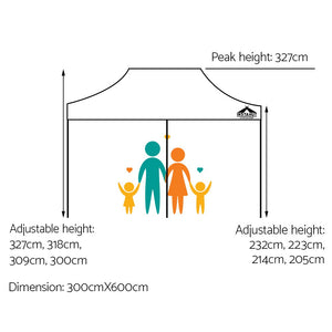 Pop Up Marquee 3x6m Outdoor Tent Folding Wedding s White