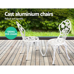 Outdoor Furniture Chairs Table 3pc Aluminium Bistro White