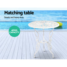 Load image into Gallery viewer, Outdoor Furniture Chairs Table 3pc Aluminium Bistro White