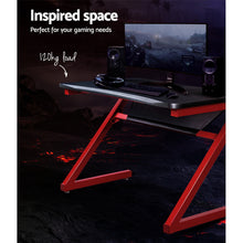 Load image into Gallery viewer, Gaming Desk Home Office Carbon Fiber Computer Table Racer Desks Black Red