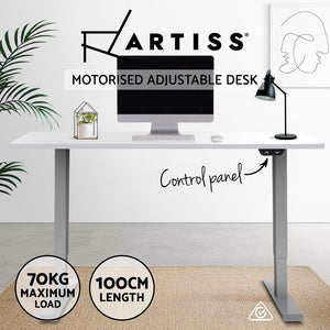 Standing Desk Motorised Height Adjustable Sit Stand Computer Table Office 100cm