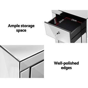 Mirrored Bedside table Drawers Furniture Mirror Glass Presia Silver
